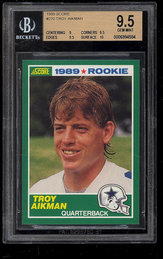 Image of: 1989 Score Football Troy Aikman ROOKIE RC #270 BGS 9.5 GEM MINT (PWCC)