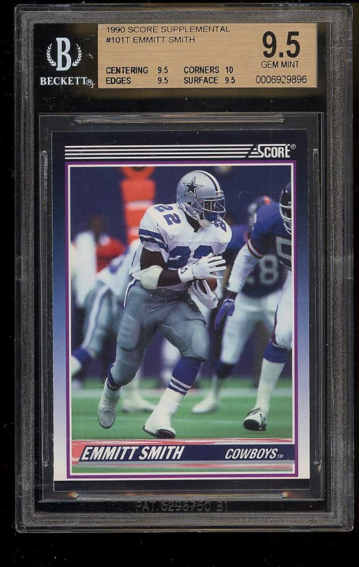 Image of: 1990 Score Supplemental Emmitt Smith ROOKIE RC #101T BGS 9.5 GEM MINT (PWCC)