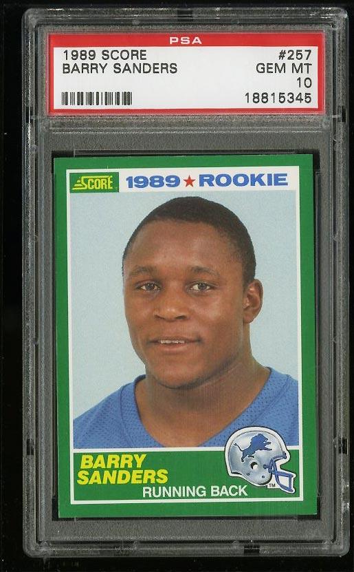 Image of: 1989 Score Football Barry Sanders ROOKIE RC #257 PSA 10 GEM MINT (PWCC)