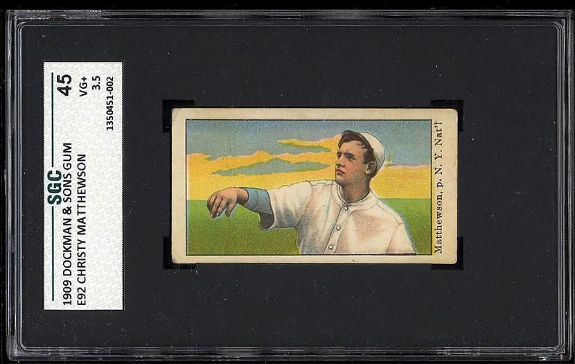 Image of: 1909 E92 Dockman & Sons Christy Mathewson SGC 3.5 VG+ (PWCC)
