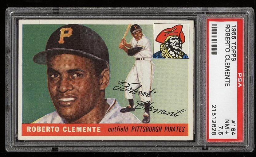 Image of: 1955 Topps Roberto Clemente ROOKIE RC #164 PSA 7.5 NRMT+ (PWCC)