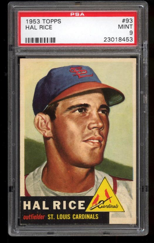 Image of: 1953 Topps Hal Rice #93 PSA 9 MINT (PWCC)