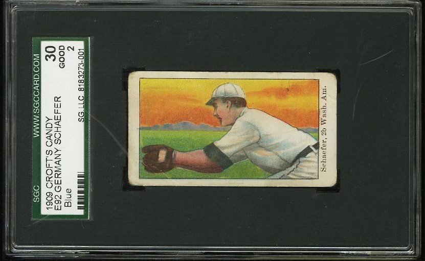 Image of: 1909 E92 Croft's Candy Germany Schaefer BLUE SGC 2 GOOD (PWCC)