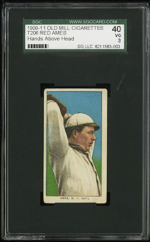Image of: 1909-11 T206 Red Ames HAND ABOVE HEAD, OLD MILL SGC 3 VG (PWCC)