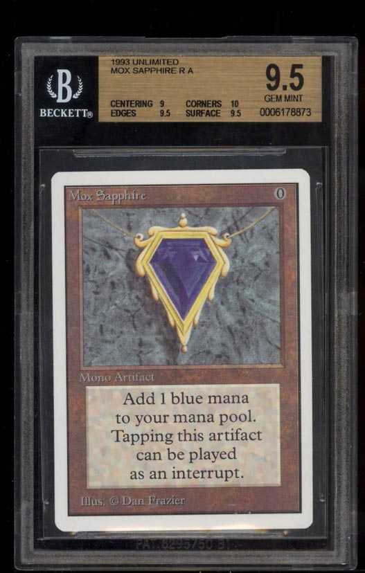 Image of: 1993 Magic The Gathering Unlimited Mox Sapphire R A BGS 9.5 GEM MINT (PWCC)