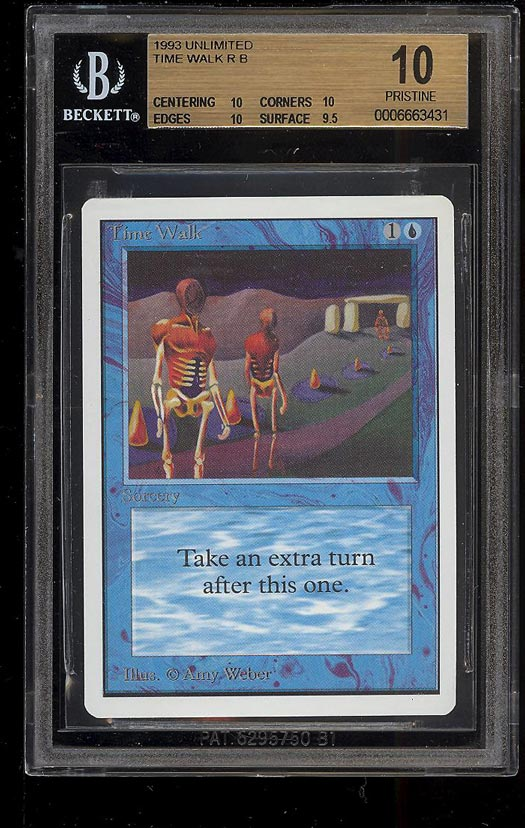 Image of: 1993 Magic The Gathering Unlimited Time Walk R B BGS 10 PRISTINE (PWCC)