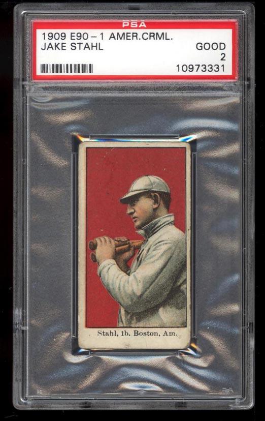 Image of: 1909 E90-1 American Caramel Jake Stahl PSA 2 GD (PWCC)