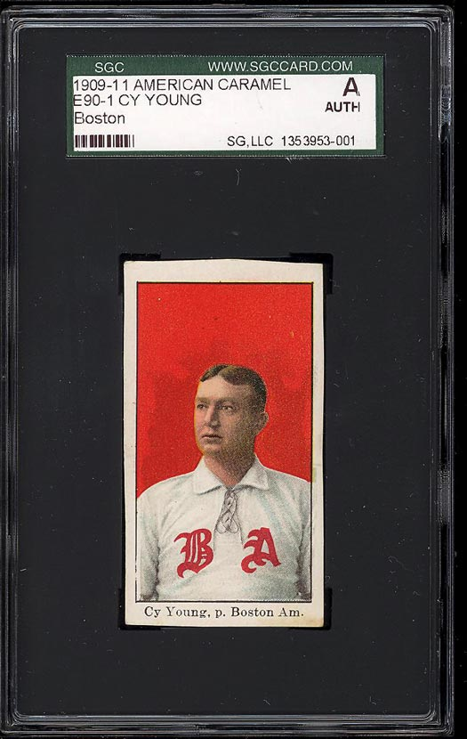 Image of: 1909 E90-1 American Caramel Cy Young BOSTON SGC Auth (PWCC)