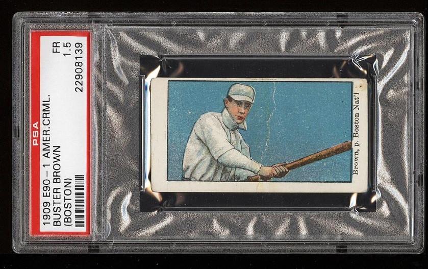 Image of: 1909 E90-1 American Caramel Buster Brown BOSTON PSA 1.5 FR (PWCC)