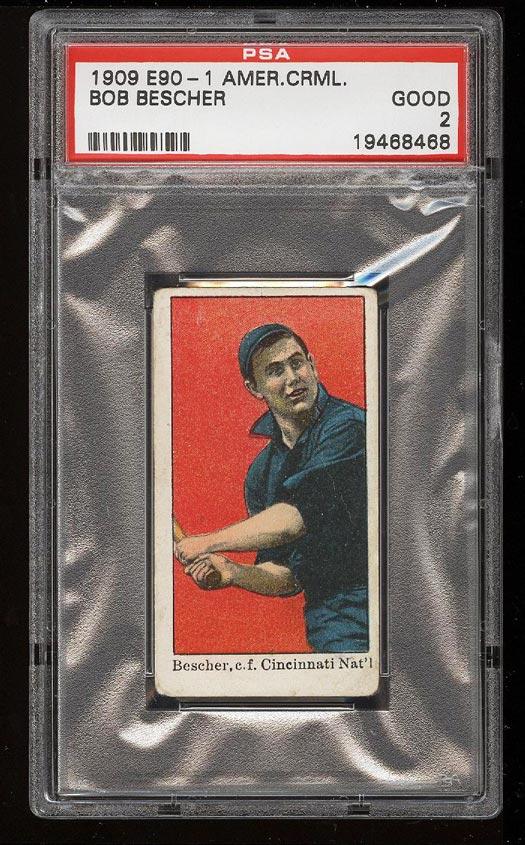 Image of: 1909 E90-1 American Caramel Bob Bescher PSA 2 GD (PWCC)