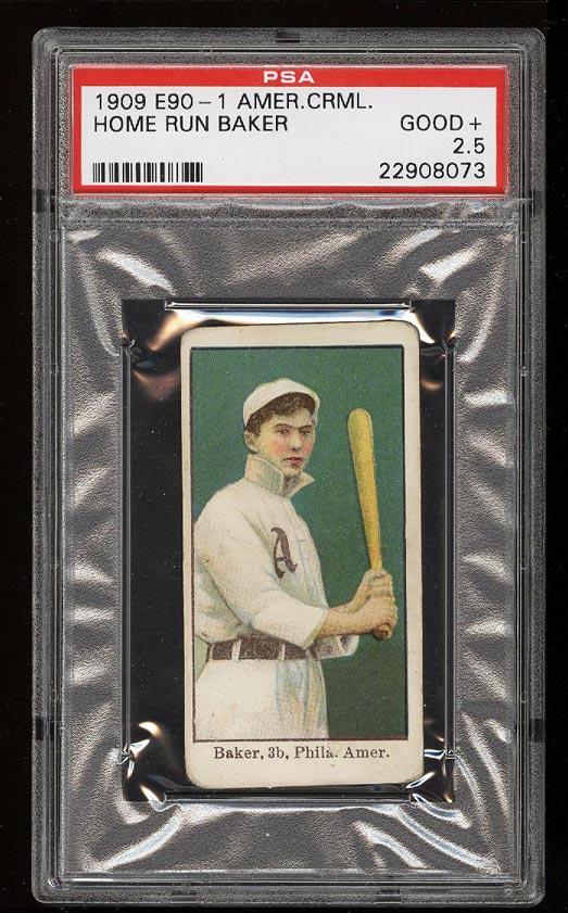 Image of: 1909 E90-1 American Caramel Home Run Baker PSA 2.5 GD+ (PWCC)