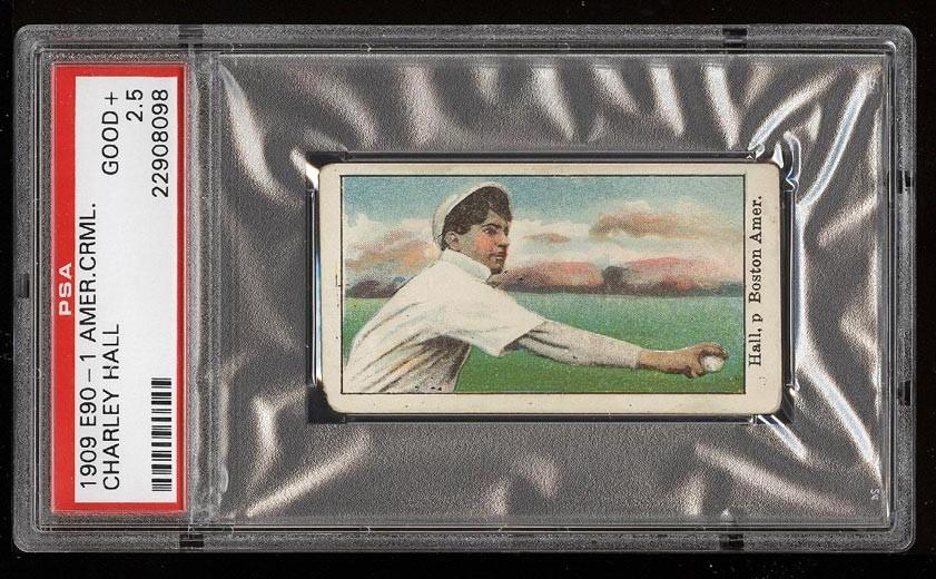 Image of: 1909 E90-1 American Caramel Charley Hall PSA 2.5 GD+ (PWCC)