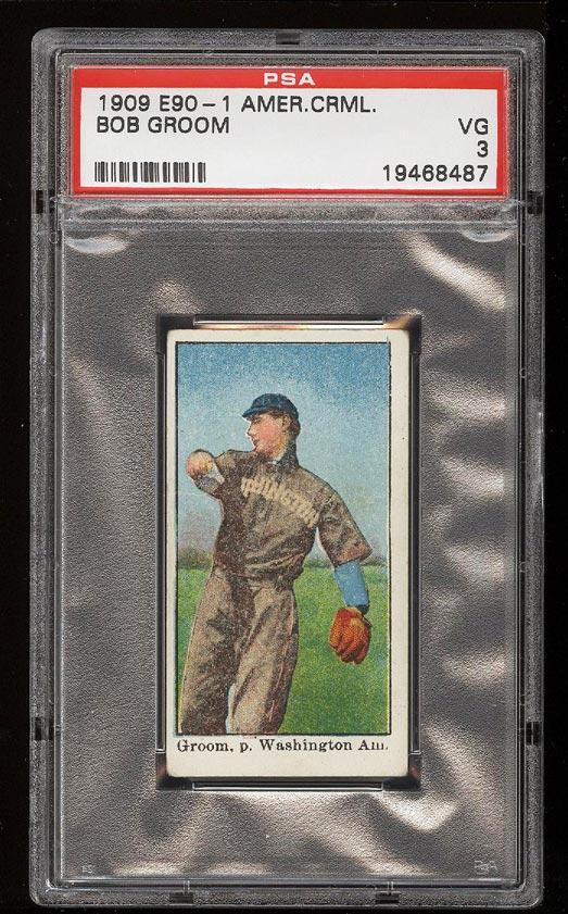 Image of: 1909 E90-1 American Caramel Bob Groom PSA 3 VG (PWCC)