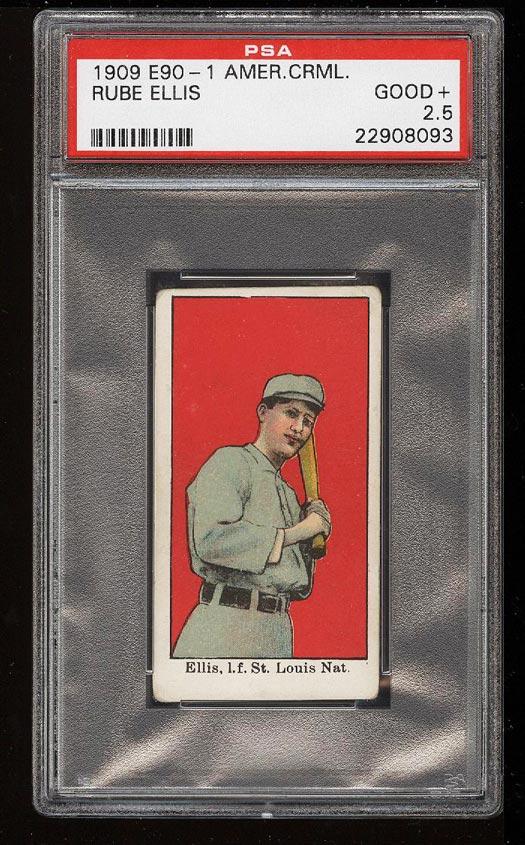 Image of: 1909 E90-1 American Caramel Rube Ellis PSA 2.5 GD+ (PWCC)