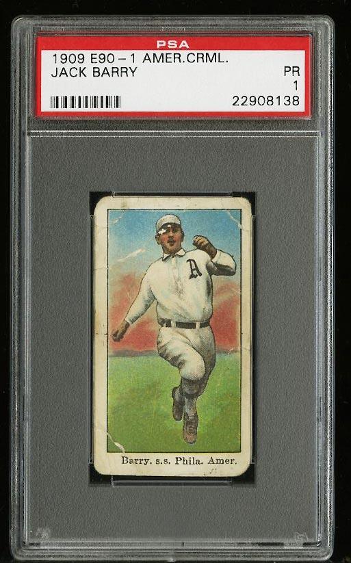 Image of: 1909 E90-1 American Caramel Jack Barry PSA 1 PR (PWCC)