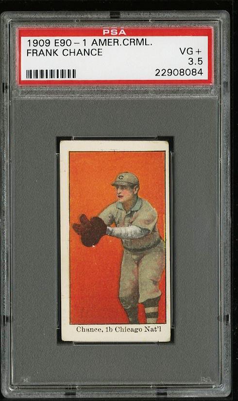Image of: 1909 E90-1 American Caramel Frank Chance PSA 3.5 VG+ (PWCC)