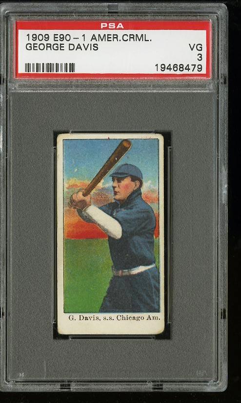 Image of: 1909 E90-1 American Caramel George Davis PSA 3 VG (PWCC)