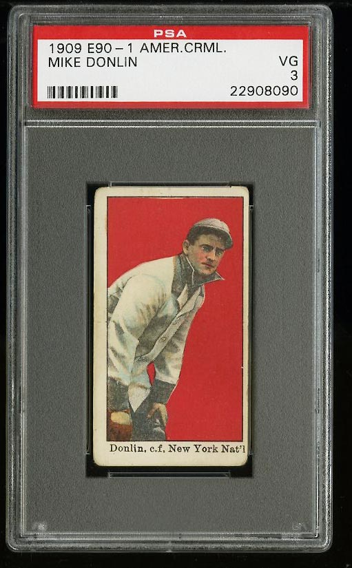 Image of: 1909 E90-1 American Caramel Mike Donlin PSA 3 VG (PWCC)