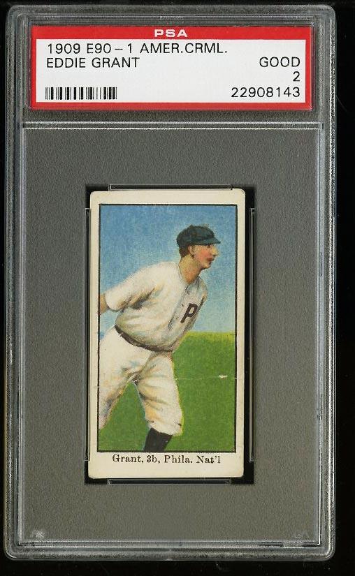 Image of: 1909 E90-1 American Caramel Eddie Grant PSA 2 GD (PWCC)