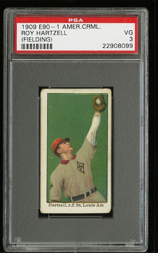 Image of: 1909 E90-1 American Caramel Roy Hartzell FIELDING PSA 3 VG (PWCC)