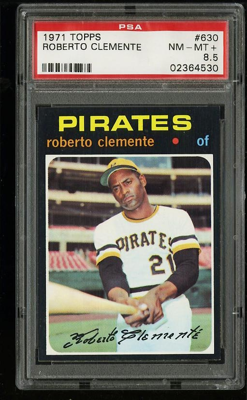 Image of: 1971 Topps Roberto Clemente #630 PSA 8.5 NM-MT+ (PWCC)