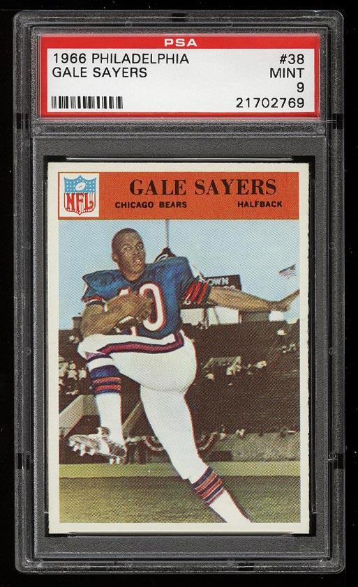Image of: 1966 Philadelphia Gale Sayers ROOKIE RC #38 PSA 9 MINT (PWCC)