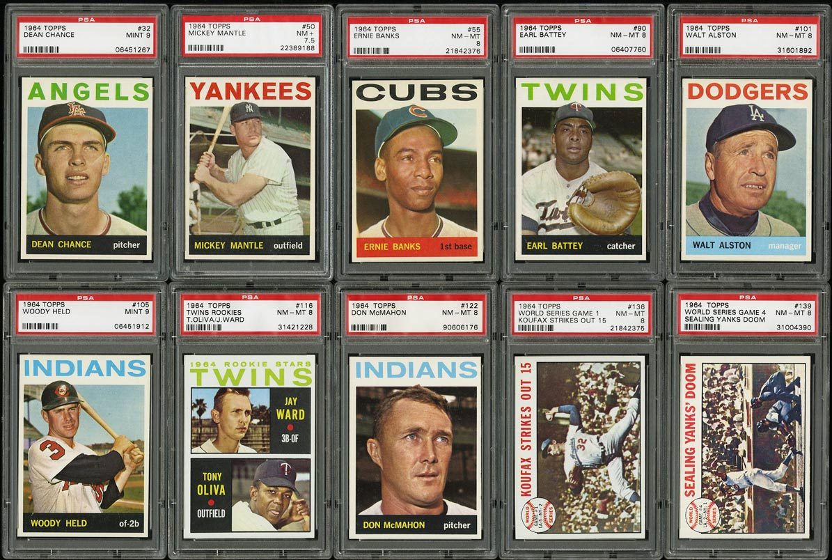 Image of: 1964 Topps Hi-Grade COMPLETE SET Mantle Koufax Clemente Aaron Rose, PSA (PWCC)