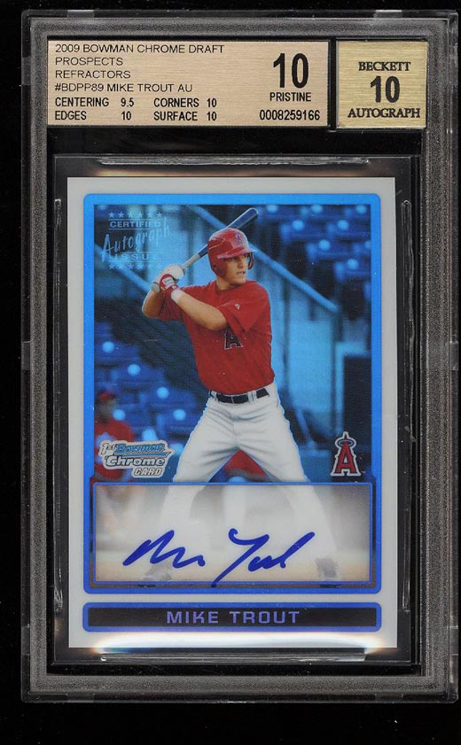 Image of: 2009 Bowman Chrome Prospects Refractor Mike Trout ROOKIE AUTO /500 BGS 10 (PWCC)