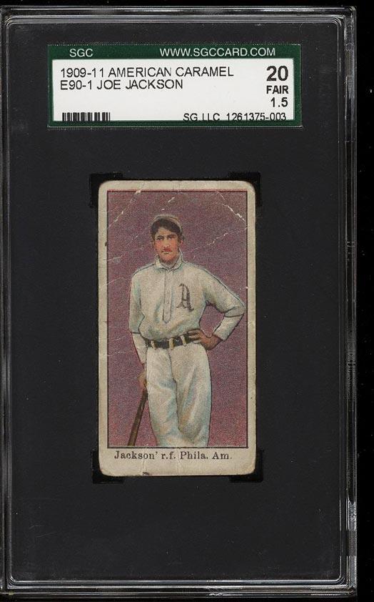 Image of: 1909 E90-1 American Caramel Shoeless Joe Jackson ROOKIE RC SGC 1.5/20 FR (PWCC)