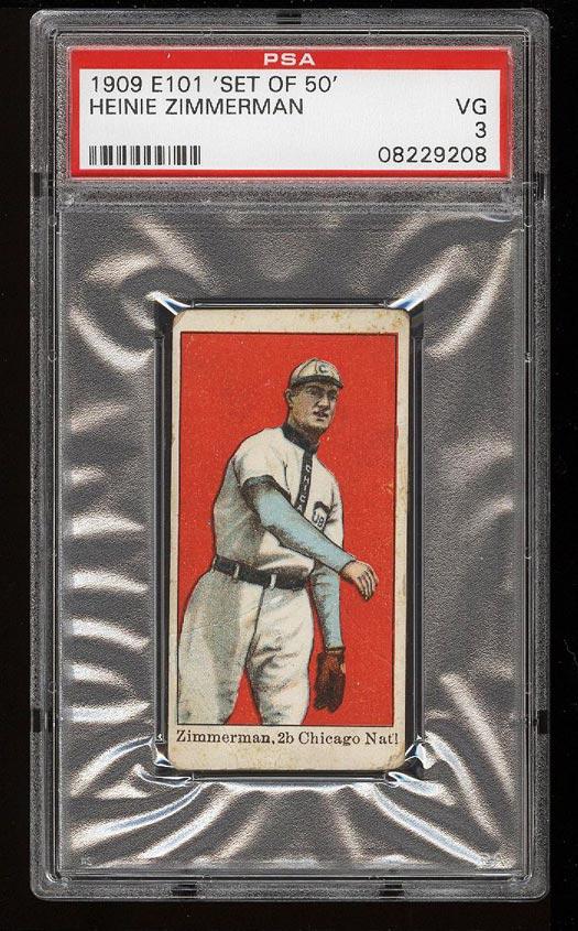 Image of: 1909 E101 Set Of 50 Heinie Zimmerman PSA 3 VG (PWCC)