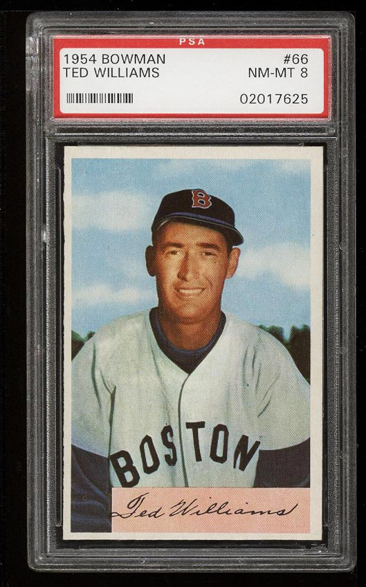 Image of: 1954 Bowman Ted Williams #66 PSA 8 NM-MT (PWCC)
