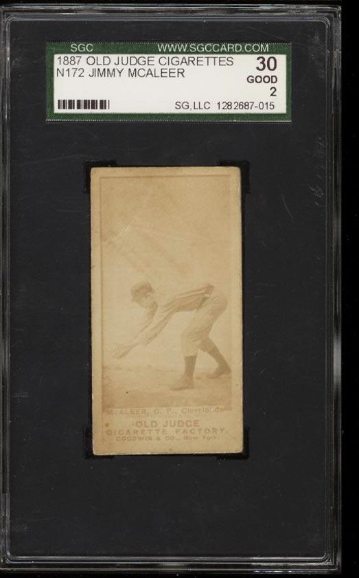 Image of: 1887 N172 Old Judge Jimmy McAleer SGC 2/30 GOOD (PWCC)