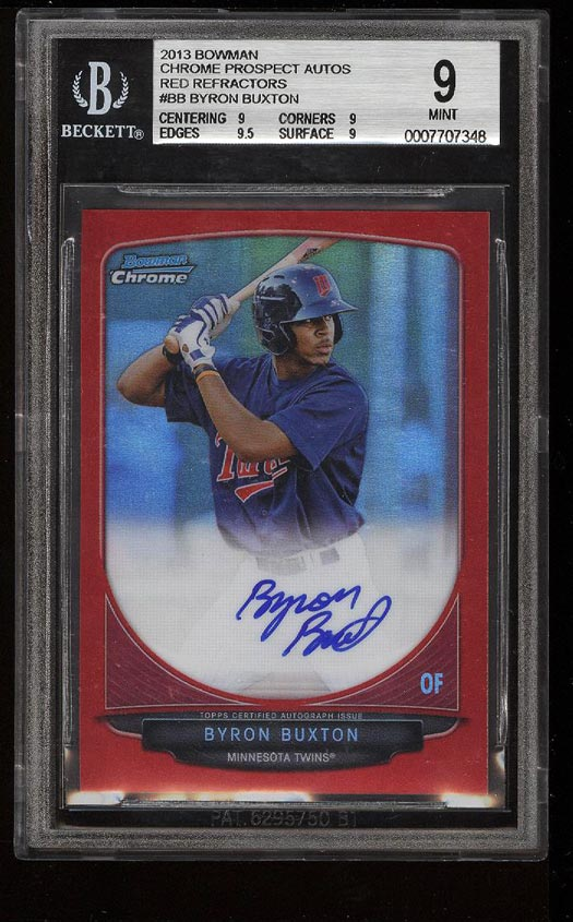 Image of: 2013 Bowman Chrome Pros Red Refractor Byron Buxton ROOKIE AUTO 1/5 BGS 9 (PWCC)