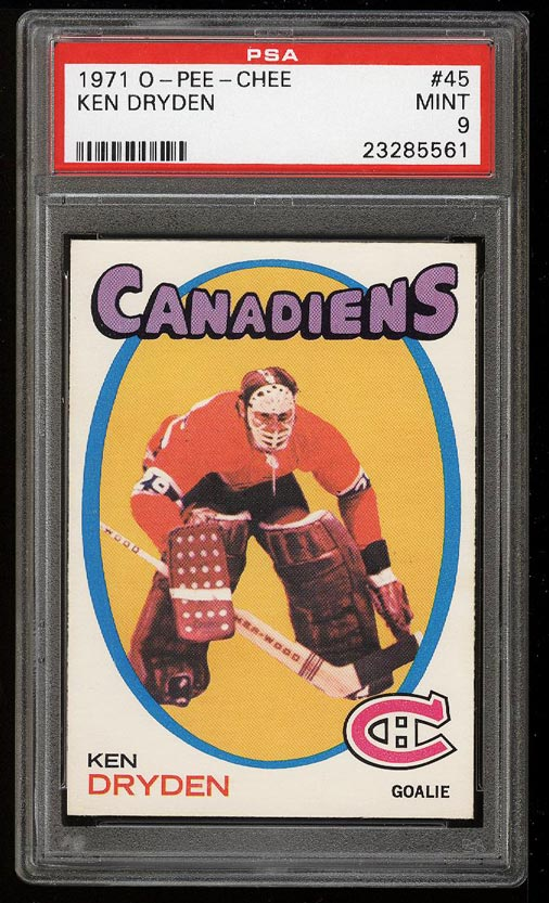 Image of: 1971 O-Pee-Chee Hockey Ken Dryden ROOKIE RC #45 PSA 9 MINT (PWCC)