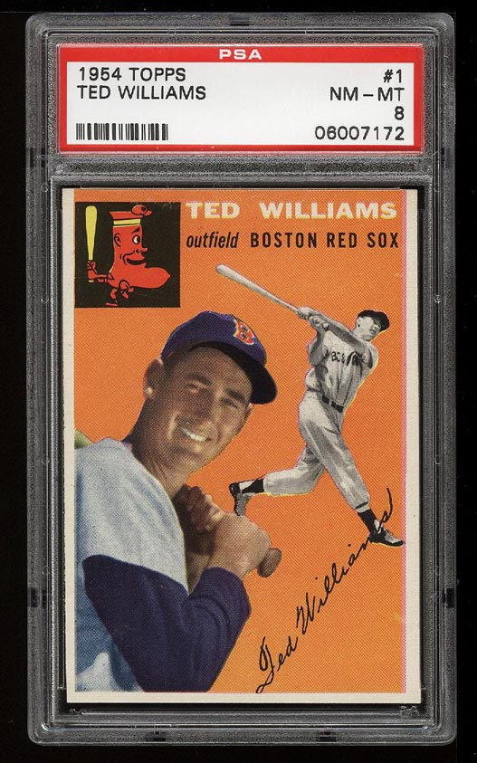 Image of: 1954 Topps SETBREAK Ted Williams #1 PSA 8 NM-MT (PWCC)