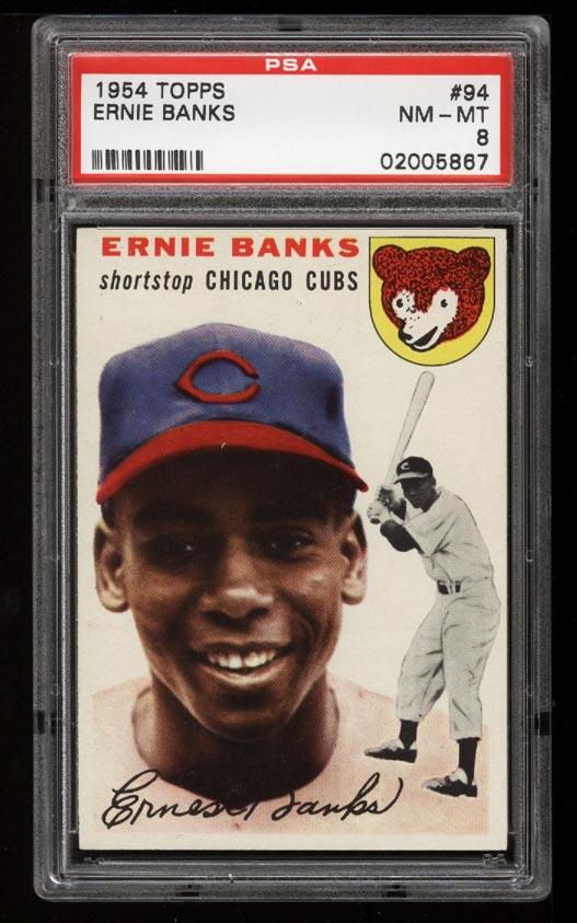 Image of: 1954 Topps SETBREAK Ernie Banks ROOKIE RC #94 PSA 8 NM-MT (PWCC)