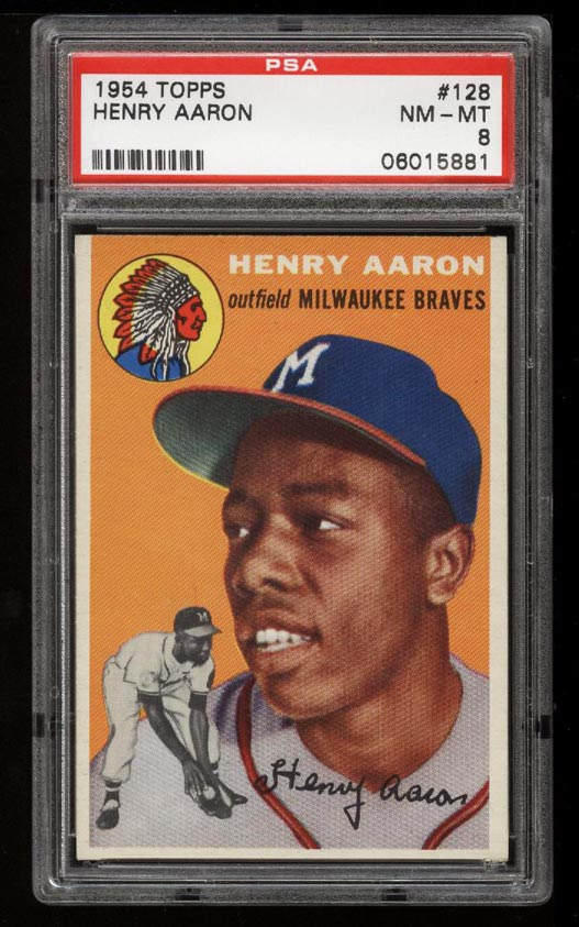 Image of: 1954 Topps SETBREAK Hank Aaron ROOKIE RC #128 PSA 8 NM-MT (PWCC)