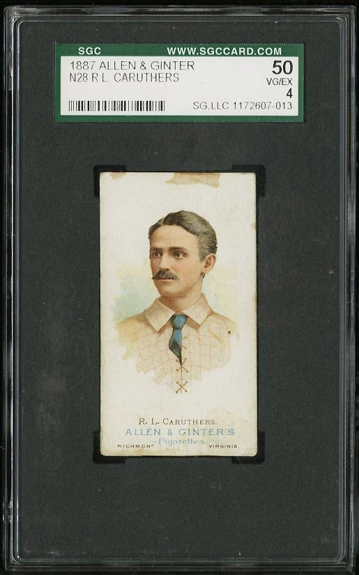 Image of: 1887 N28 Allen & Ginter R.L. Caruthers SGC 4/50 VGEX (PWCC)