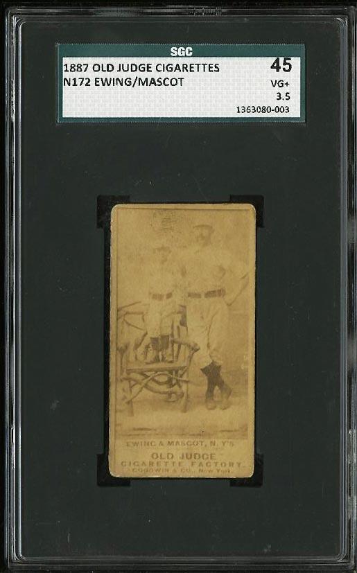 Image of: 1887 N172 Old Judge Buck Ewing & Mascot SGC 3.5/45 VG+ (PWCC)