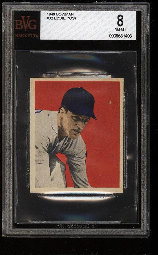 Image of: 1949 Bowman Eddie Yost ROOKIE RC #32 BVG 8 NM-MT (PWCC)