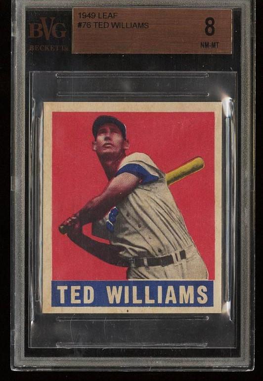 Image of: 1948 Leaf Ted Williams #76 BVG 8 NM-MT (PWCC)