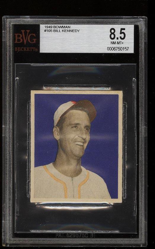 Image of: 1949 Bowman Bill Kennedy #105 BVG 8.5 NM-MT+ (PWCC)