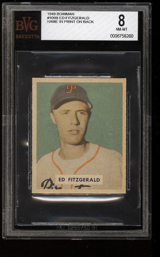 Image of: 1949 Bowman Ed Fitzgerald PRINTED NAME ON BACK #109 BVG 8 NM-MT (PWCC)