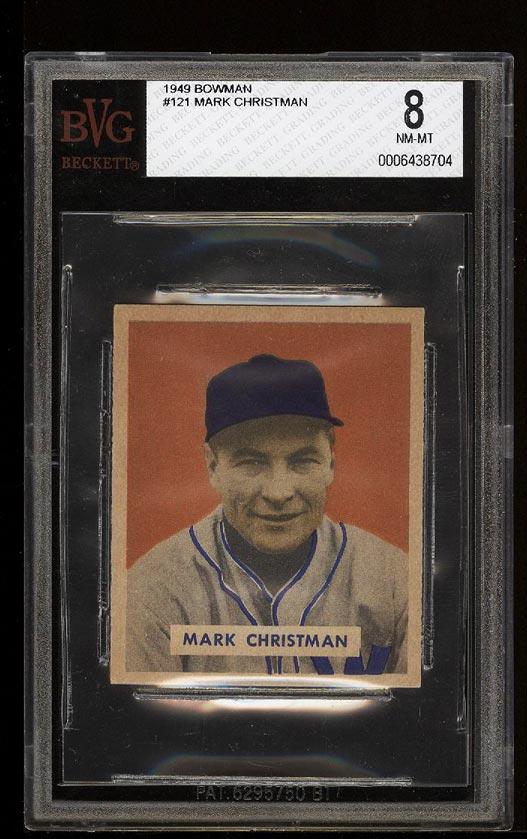 Image of: 1949 Bowman Mark Christman #121 BVG 8 NM-MT (PWCC)