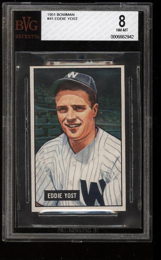 Image of: 1951 Bowman Eddie Yost #41 BVG 8 NM-MT (PWCC)