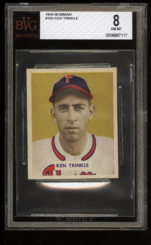 Image of: 1949 Bowman Ken Trinkle #193 BVG 8 NM-MT (PWCC)