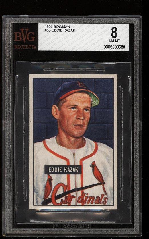Image of: 1951 Bowman Eddie Kazak #85 BVG 8 NM-MT (PWCC)
