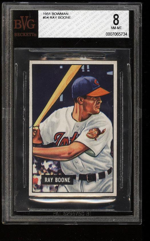 Image of: 1951 Bowman Ray Boone ROOKIE RC #54 BVG 8 NM-MT (PWCC)