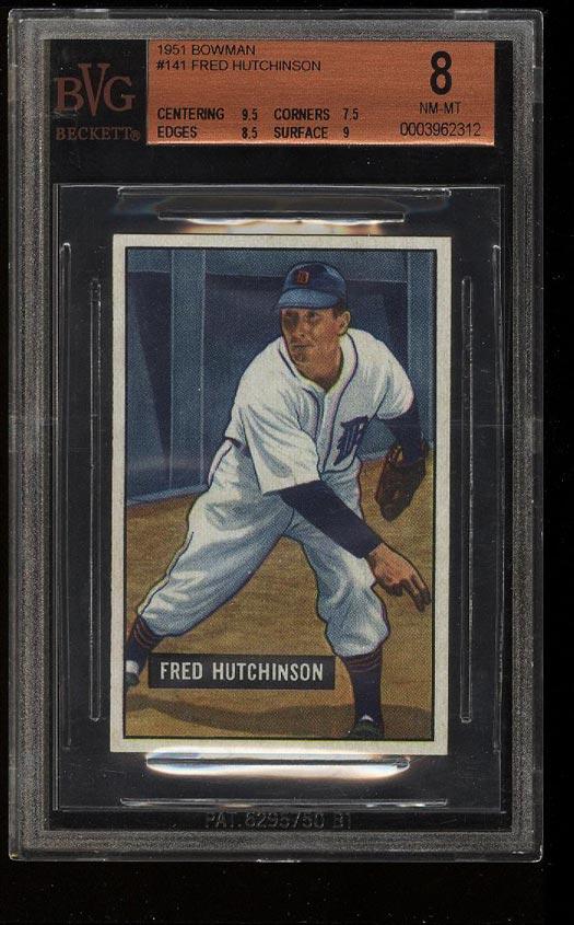 Image of: 1951 Bowman Fred Hutchinson #141 BVG 8 NM-MT (PWCC)