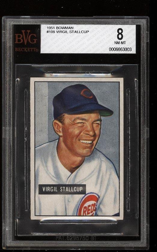 Image of: 1951 Bowman Virgil Stallcup #108 BVG 8 NM-MT (PWCC)